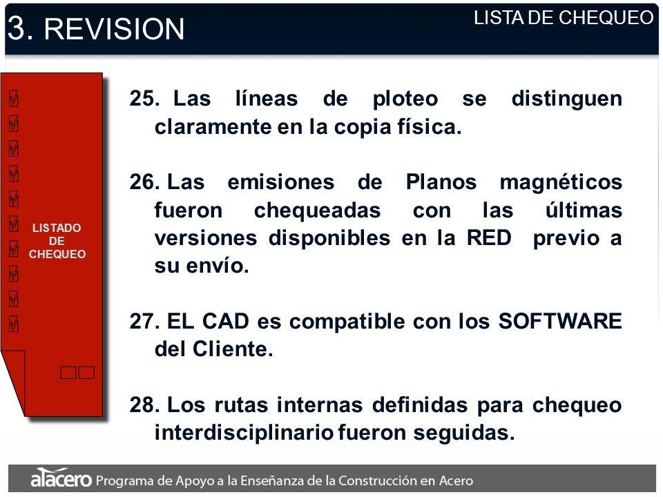 3. REVISION LISTA DE CHEQUEO. LISTADO DE CHEQUEO. Las líneas de ploteo se distinguen claramente en la copia física.