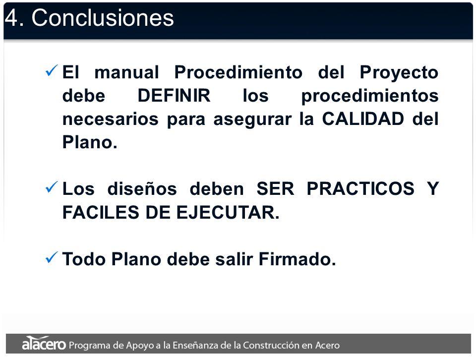 4. Conclusiones El manual Procedimiento del Proyecto debe DEFINIR los procedimientos necesarios para asegurar la CALIDAD del Plano.