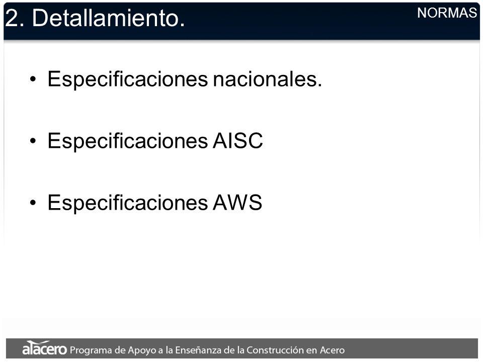 2. Detallamiento. Especificaciones nacionales. Especificaciones AISC
