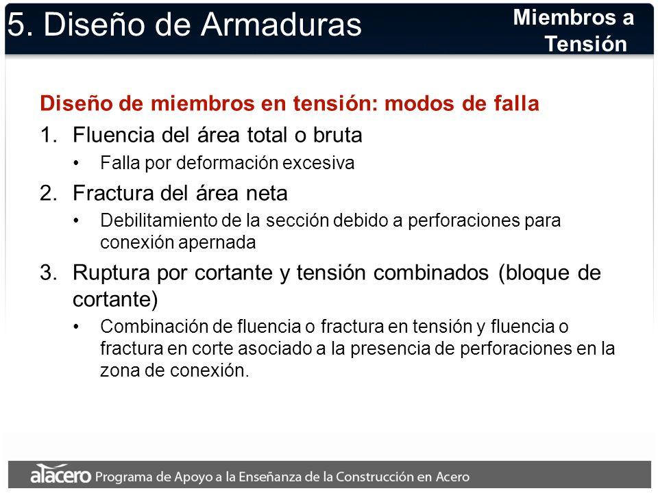 5. Diseño de Armaduras Miembros a Tensión