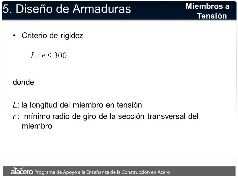 5. Diseño de Armaduras Miembros a Tensión Criterio de rigidez donde