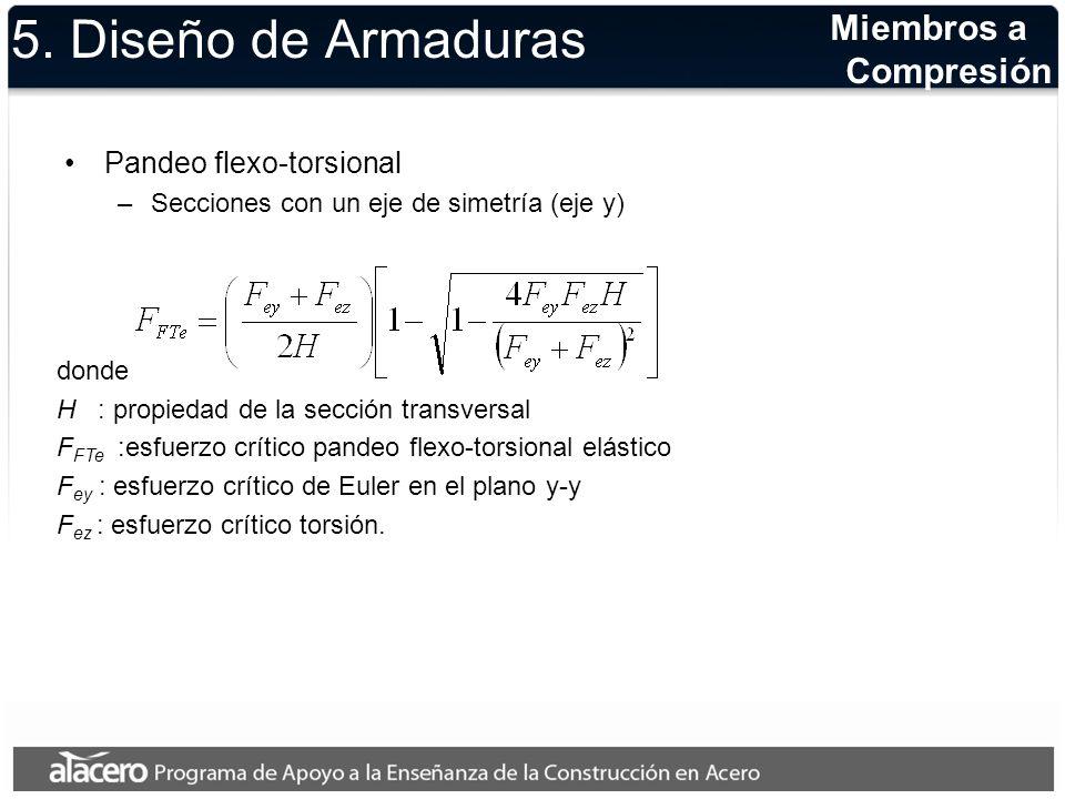 5. Diseño de Armaduras Miembros a Compresión Pandeo flexo-torsional