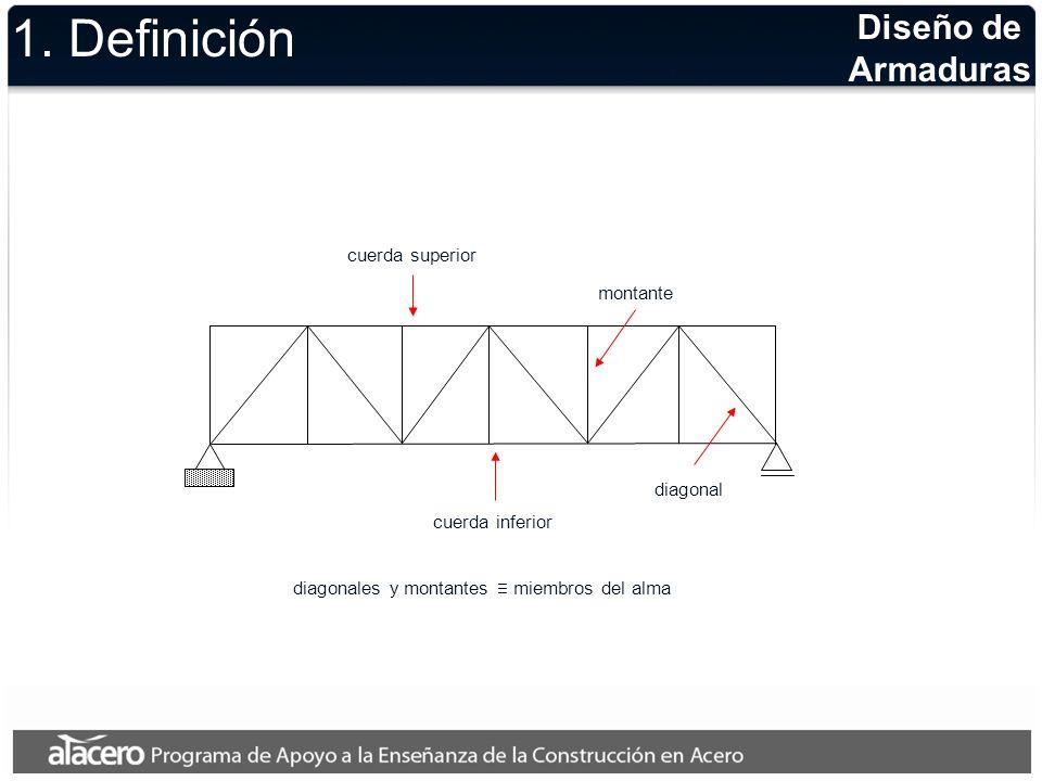 1. Definición Diseño de Armaduras cuerda superior montante diagonal