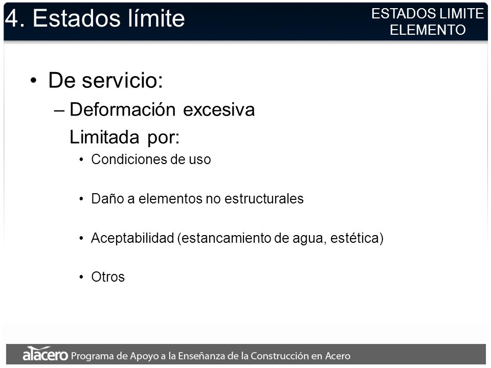 4. Estados límite De servicio: Deformación excesiva Limitada por: