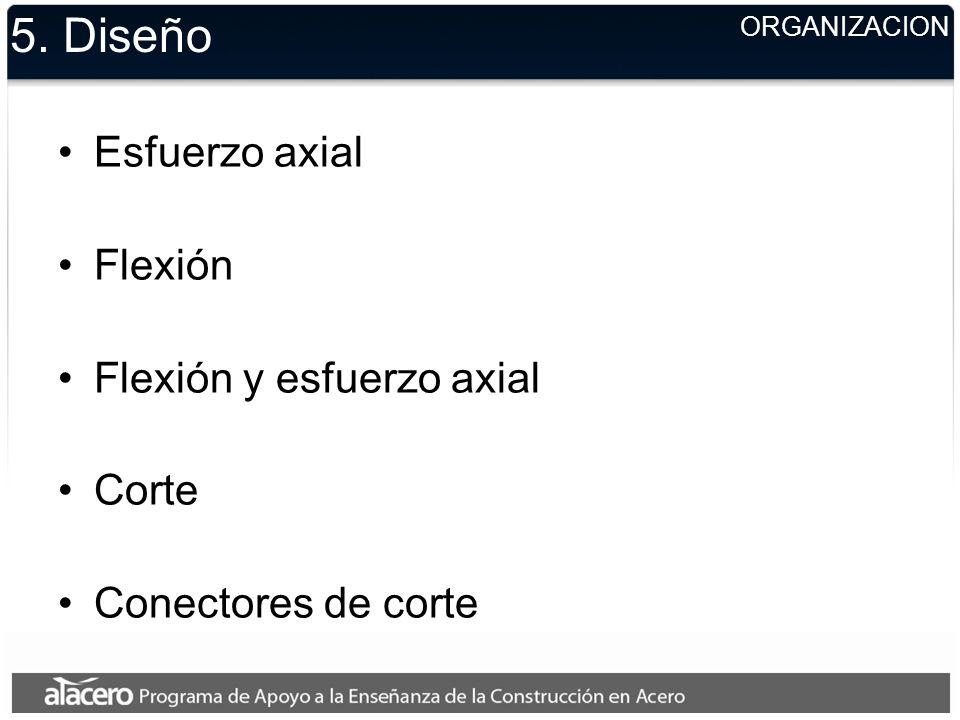 5. Diseño Esfuerzo axial Flexión Flexión y esfuerzo axial Corte