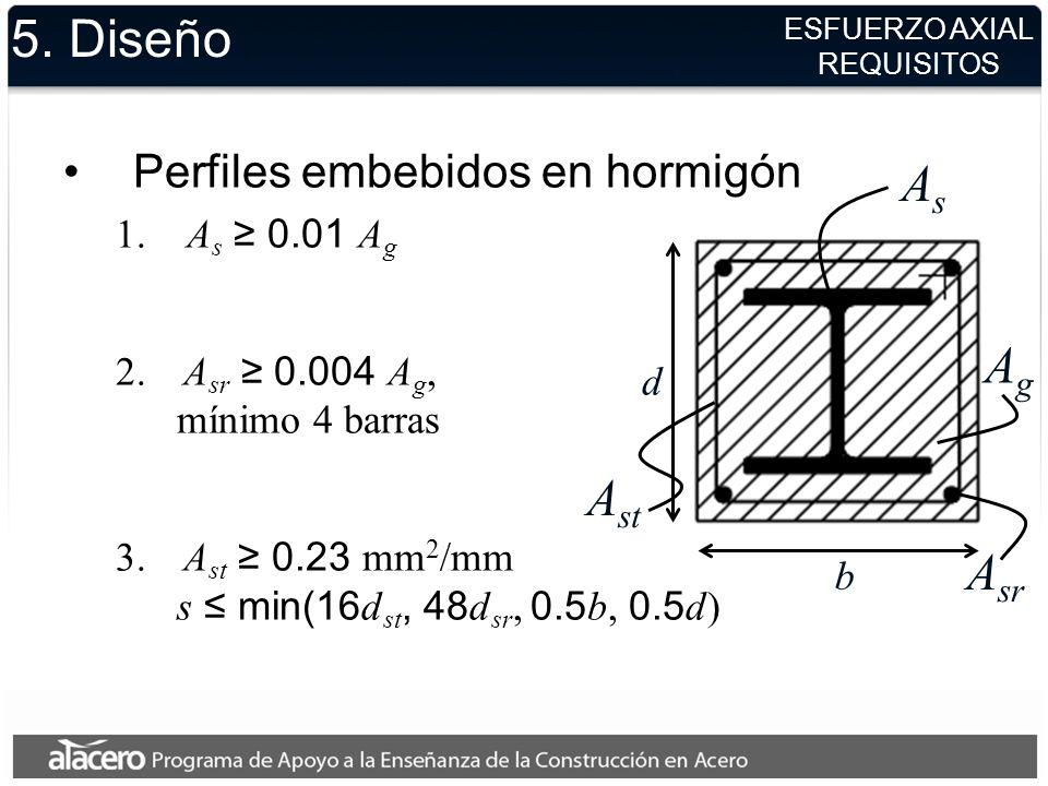 5. Diseño As Ag Ast Asr Perfiles embebidos en hormigón As ≥ 0.01 Ag