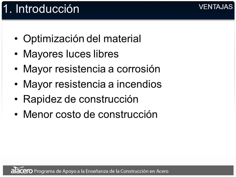 1. Introducción Optimización del material Mayores luces libres