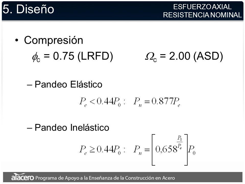 5. Diseño Compresión fc = 0.75 (LRFD) Wc = 2.00 (ASD) Pandeo Elástico