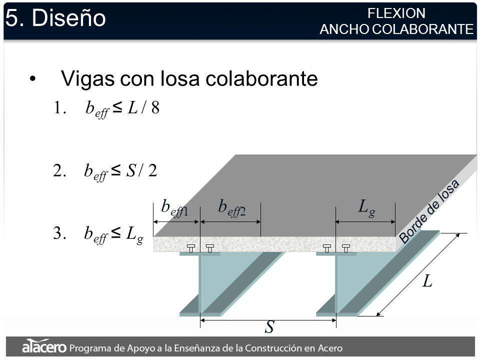 5. Diseño Vigas con losa colaborante beff ≤ L / 8 beff ≤ S / 2