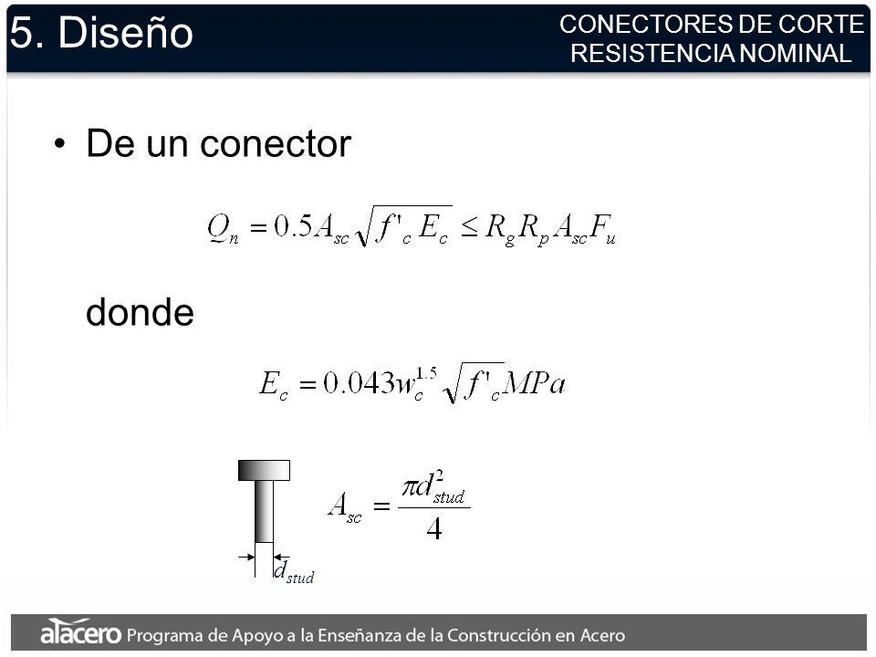 5. Diseño De un conector donde CONECTORES DE CORTE RESISTENCIA NOMINAL