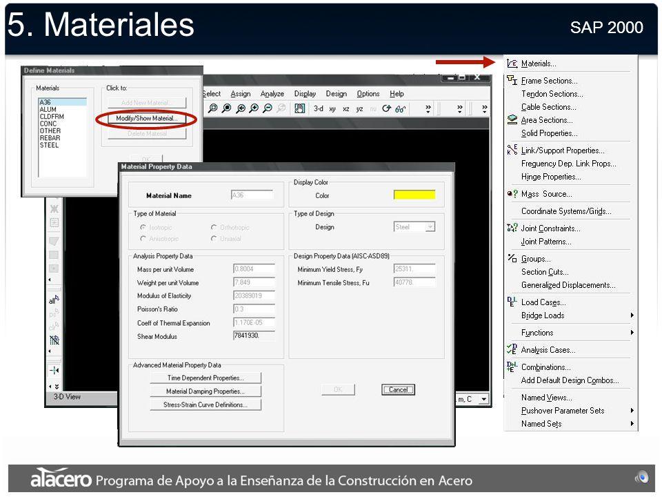 5. Materiales SAP 2000.