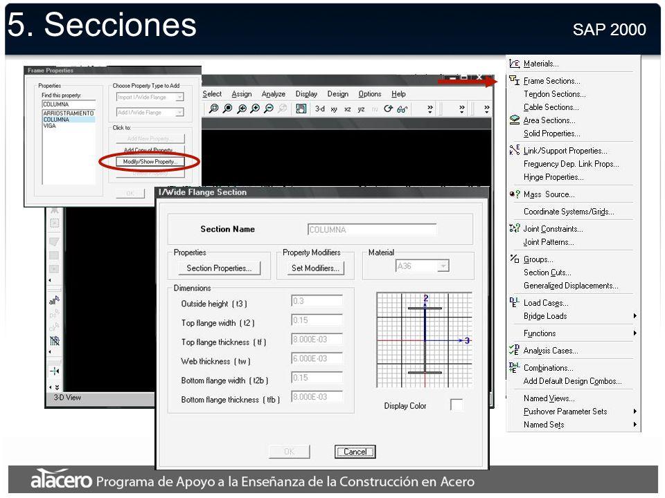 5. Secciones SAP 2000.