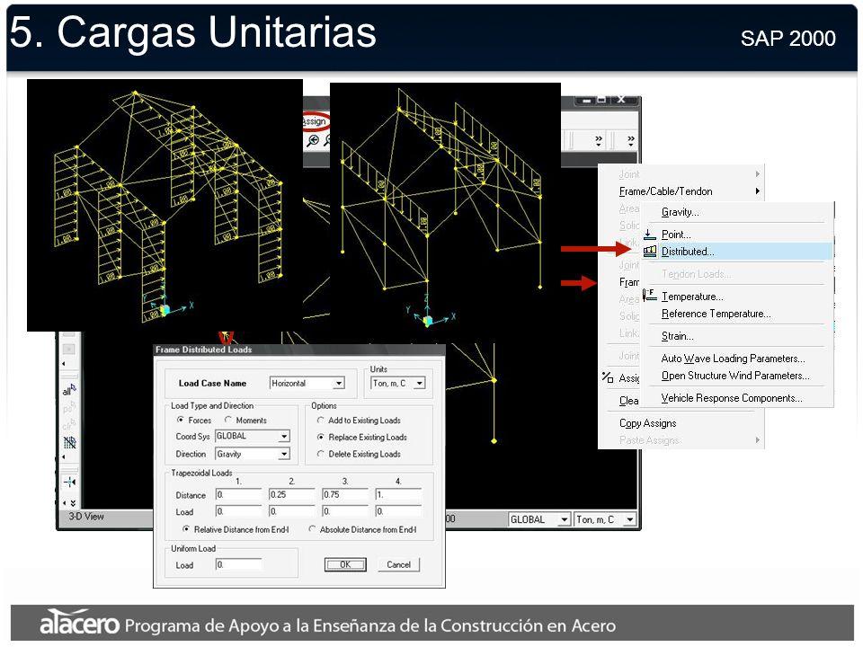 5. Cargas Unitarias SAP 2000.