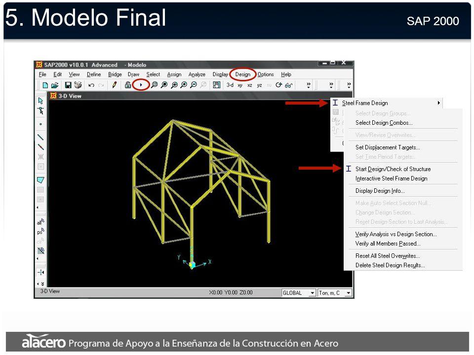 5. Modelo Final SAP 2000.
