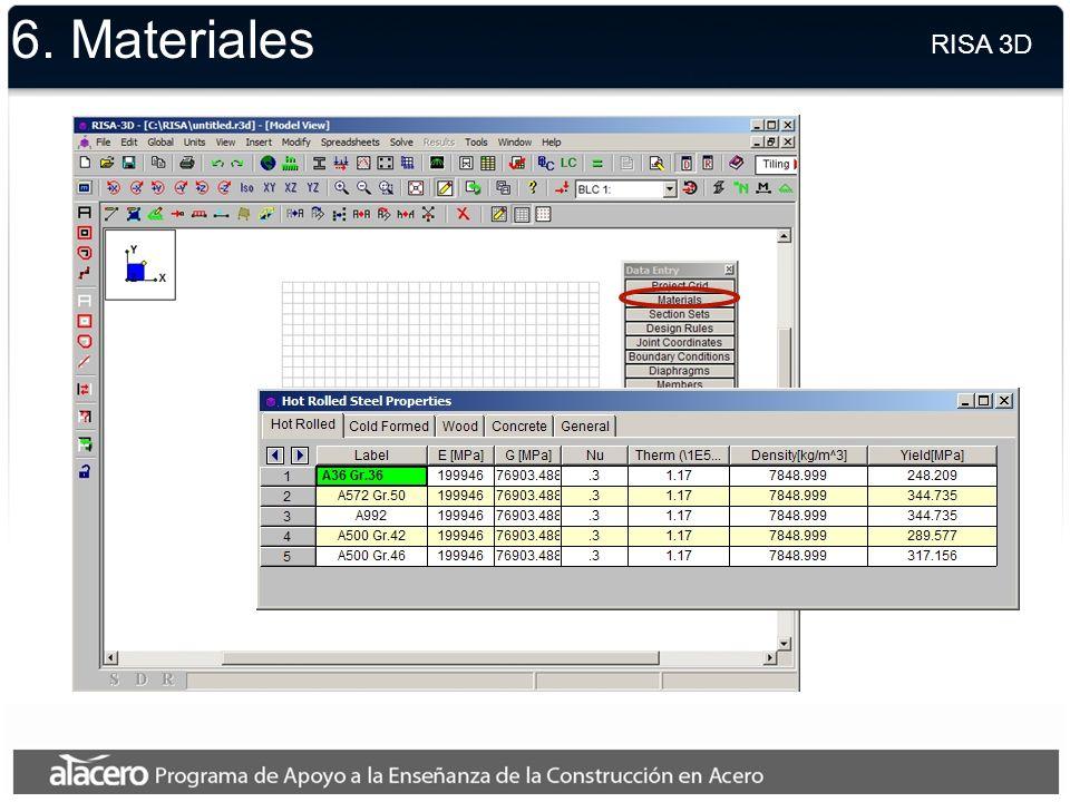 6. Materiales RISA 3D.