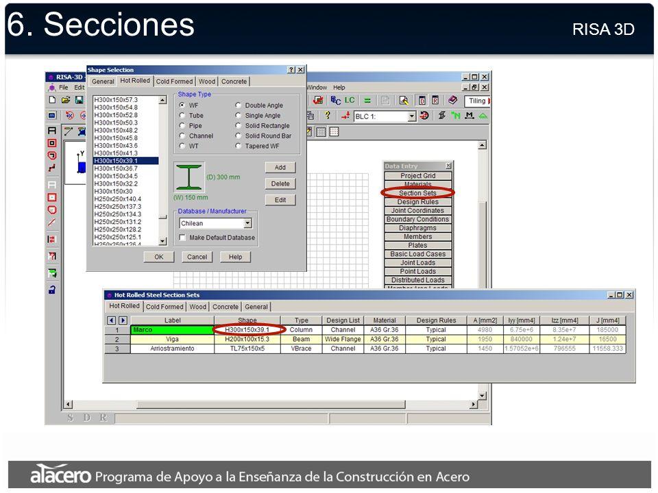 6. Secciones RISA 3D.