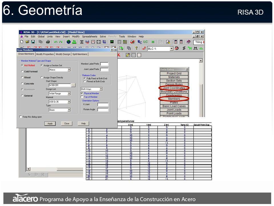 6. Geometría RISA 3D.
