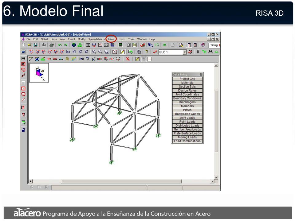 6. Modelo Final RISA 3D.