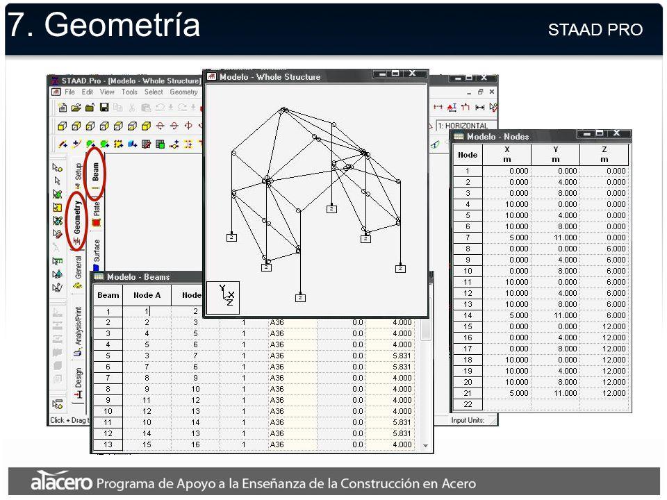 7. Geometría STAAD PRO.