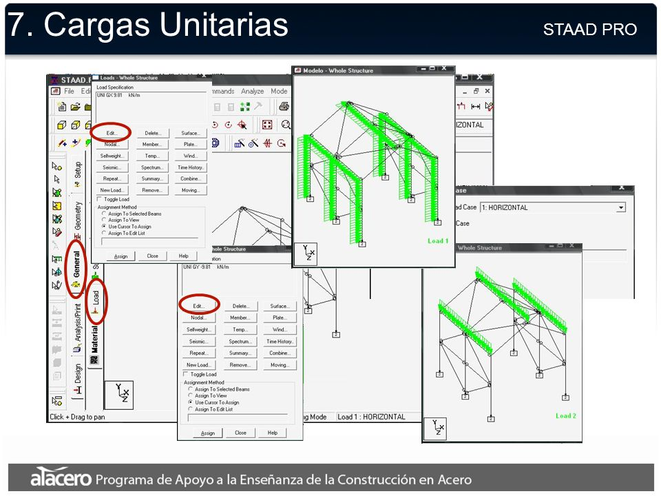 7. Cargas Unitarias STAAD PRO
