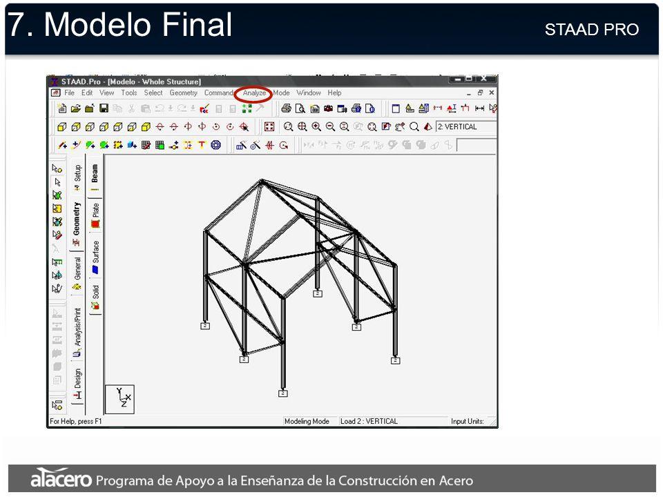 7. Modelo Final STAAD PRO.