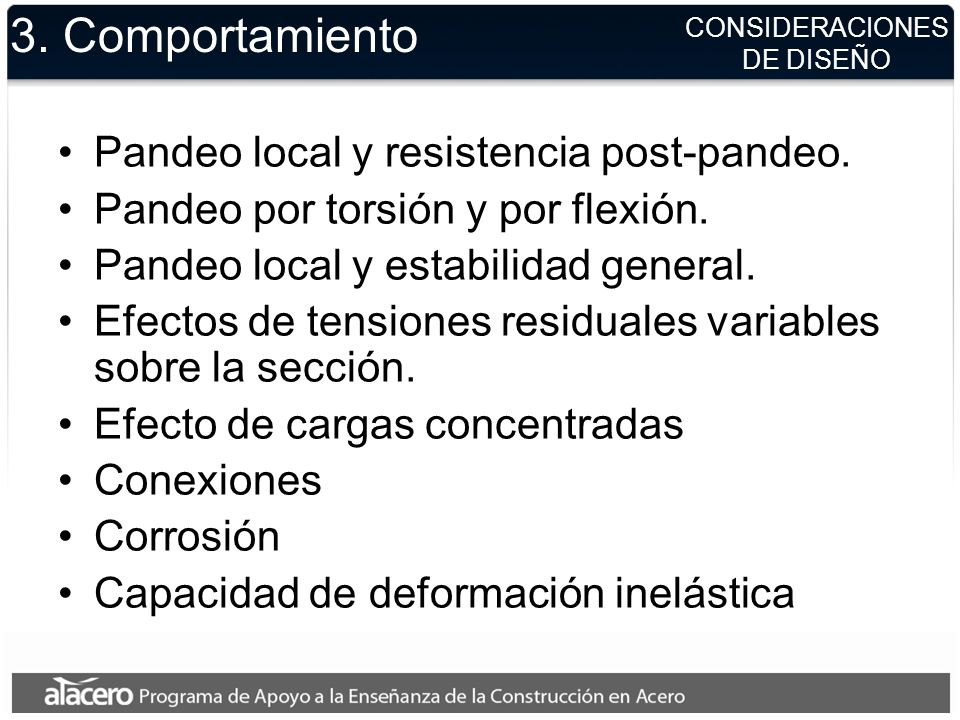 3. Comportamiento Pandeo local y resistencia post-pandeo.