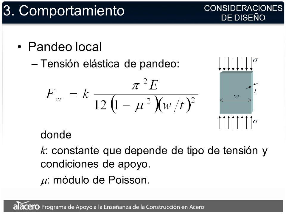 3. Comportamiento Pandeo local Tensión elástica de pandeo: donde