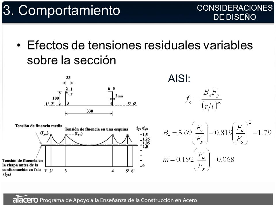 3. ComportamientoCONSIDERACIONES. DE DISEÑO. Efectos de tensiones residuales variables sobre la sección.