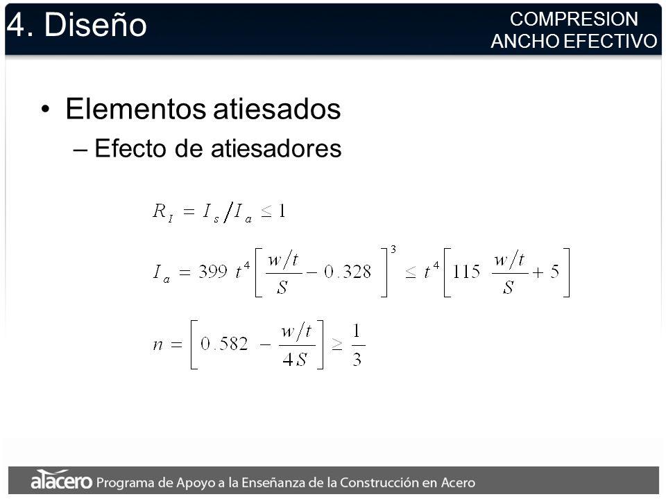 4. Diseño Elementos atiesados Efecto de atiesadores COMPRESION