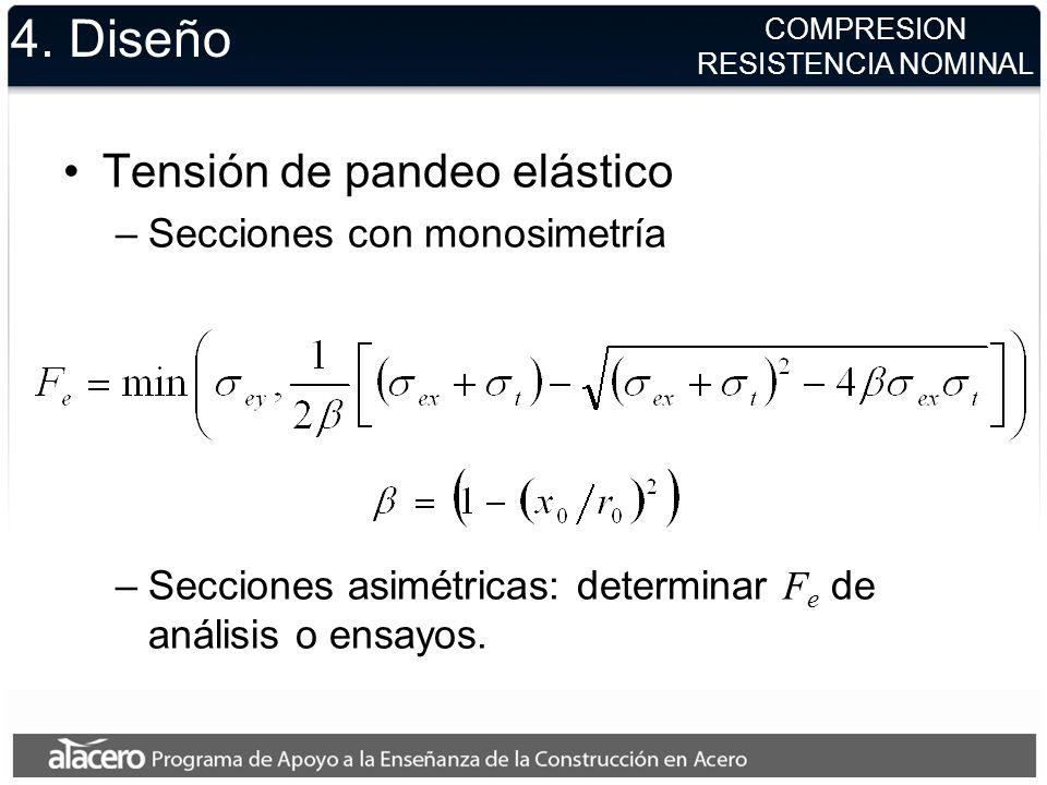 4. Diseño Tensión de pandeo elástico Secciones con monosimetría