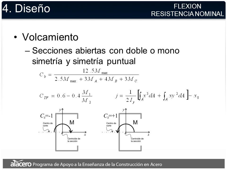 4. DiseñoFLEXION. RESISTENCIA NOMINAL. Volcamiento. Secciones abiertas con doble o mono simetría y simetría puntual.