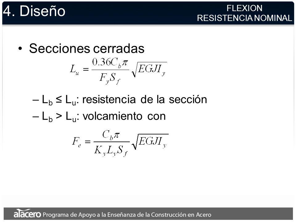 4. Diseño Secciones cerradas Lb ≤ Lu: resistencia de la sección