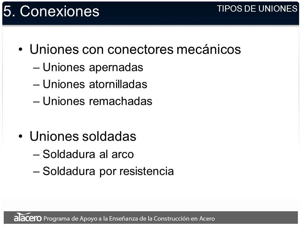 5. Conexiones Uniones con conectores mecánicos Uniones soldadas