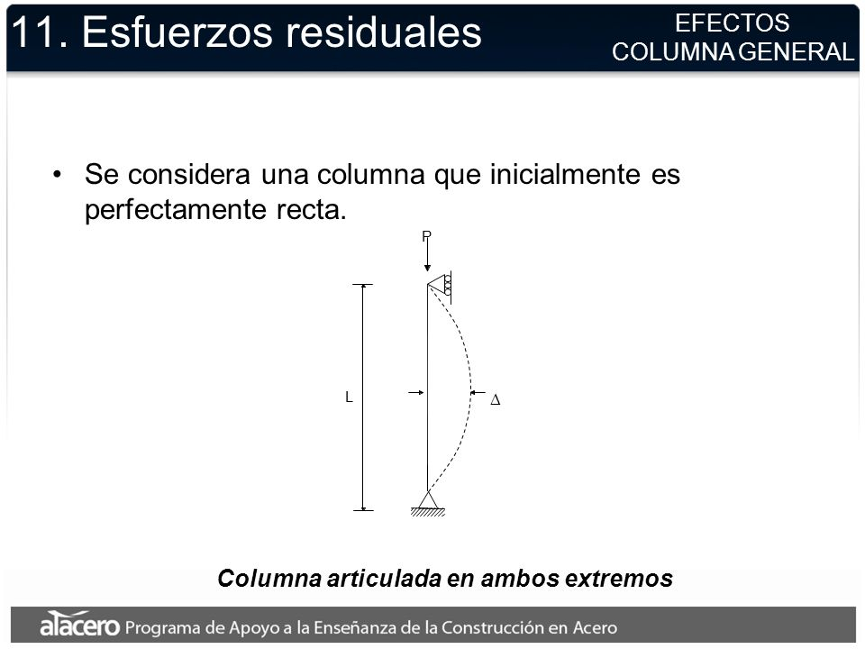 11. Esfuerzos residuales EFECTOS. COLUMNA GENERAL. Se considera una columna que inicialmente es perfectamente recta.