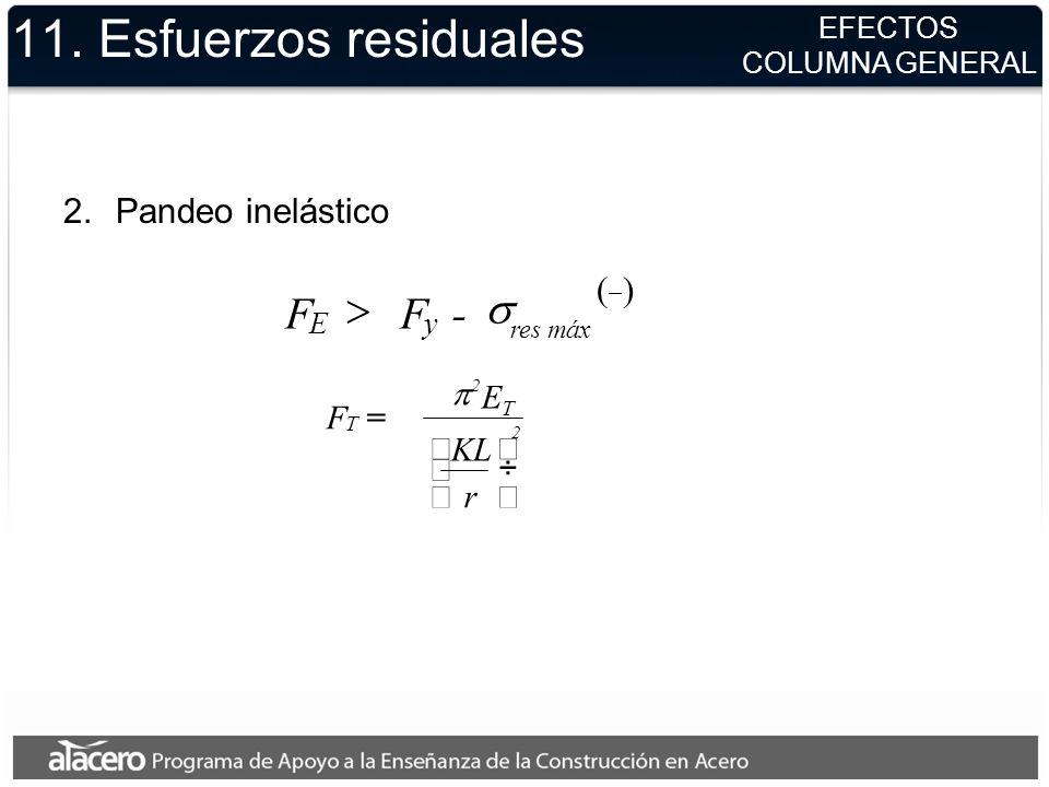11. Esfuerzos residuales F > - s Pandeo inelástico ( ) F = r KL ET