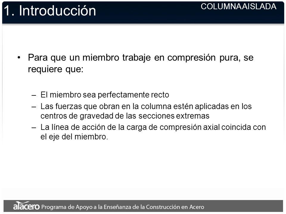 1. Introducción COLUMNA AISLADA. Para que un miembro trabaje en compresión pura, se requiere que: El miembro sea perfectamente recto.