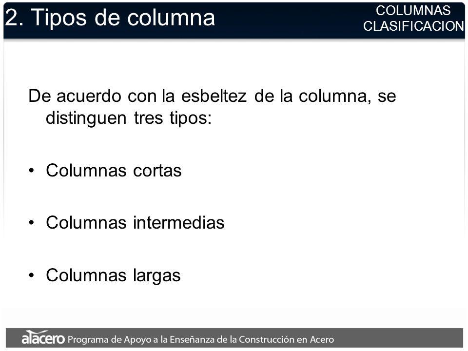 2. Tipos de columna COLUMNAS. CLASIFICACION. De acuerdo con la esbeltez de la columna, se distinguen tres tipos:
