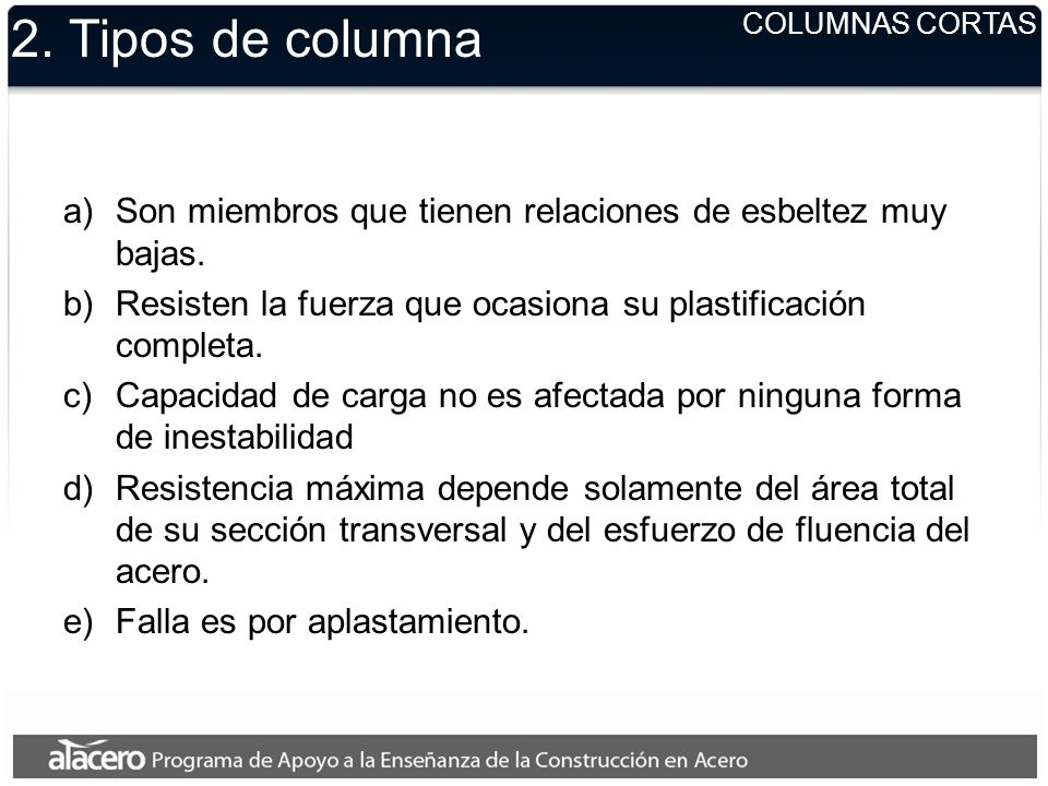 2. Tipos de columnaCOLUMNAS CORTAS. Son miembros que tienen relaciones de esbeltez muy bajas.