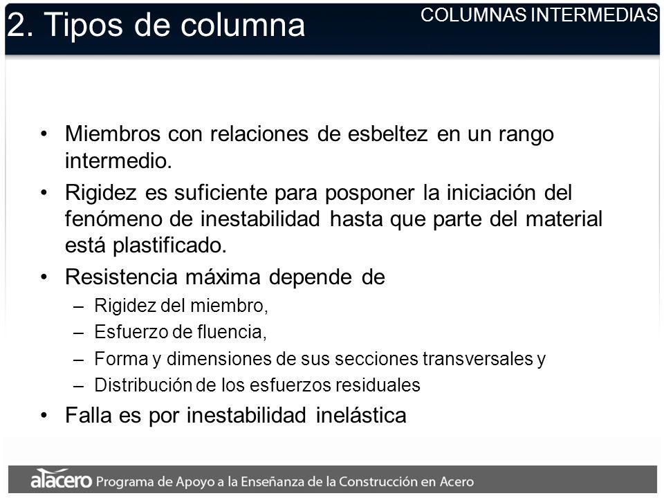 2. Tipos de columna COLUMNAS INTERMEDIAS. Miembros con relaciones de esbeltez en un rango intermedio.