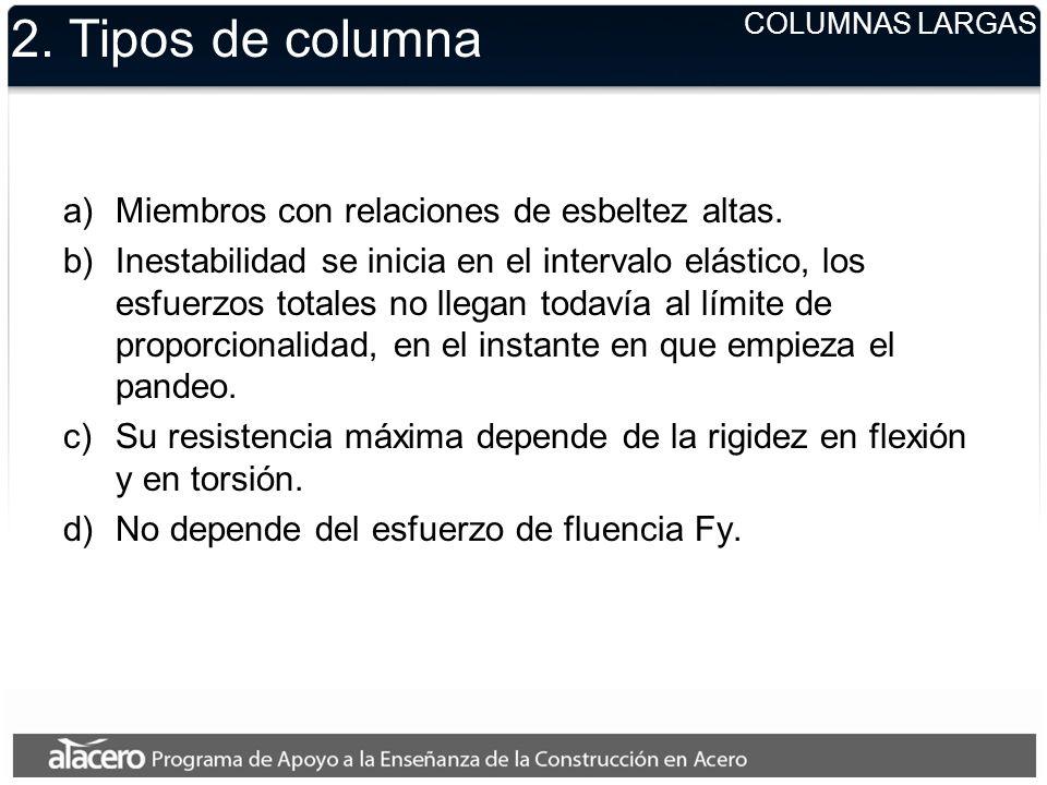 2. Tipos de columna Miembros con relaciones de esbeltez altas.