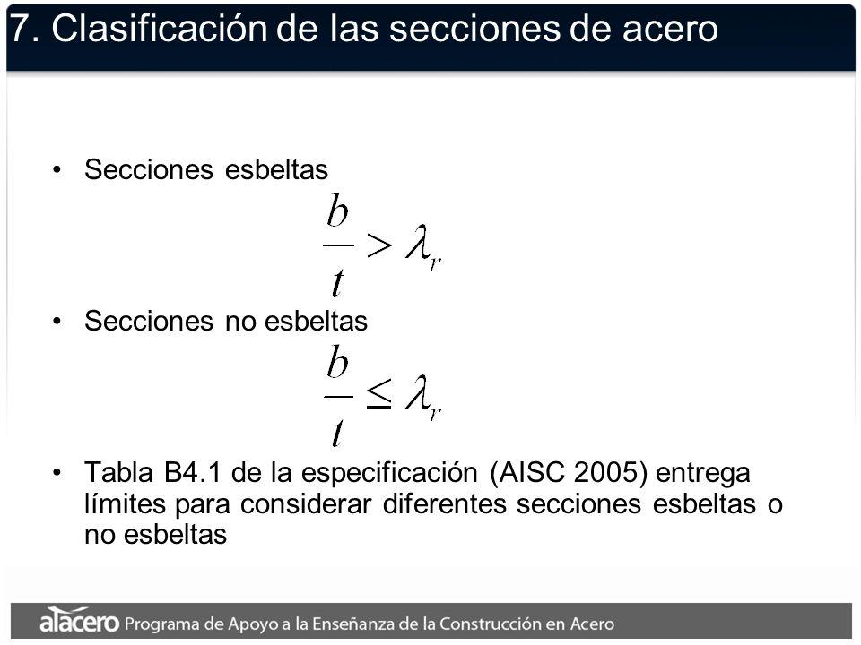 7. Clasificación de las secciones de acero