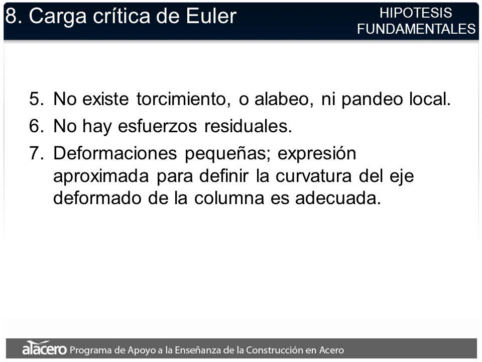 8. Carga crítica de Euler HIPOTESIS. FUNDAMENTALES. No existe torcimiento, o alabeo, ni pandeo local.