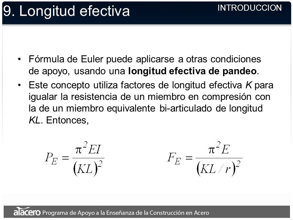 9. Longitud efectivaINTRODUCCION. Fórmula de Euler puede aplicarse a otras condiciones de apoyo, usando una longitud efectiva de pandeo.