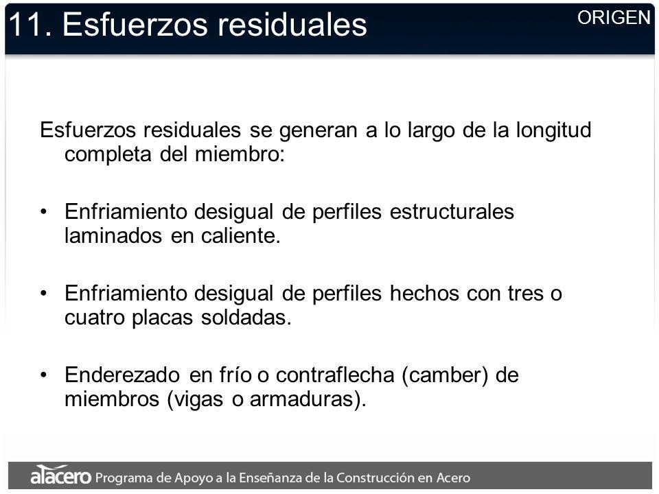 11. Esfuerzos residuales ORIGEN. Esfuerzos residuales se generan a lo largo de la longitud completa del miembro: