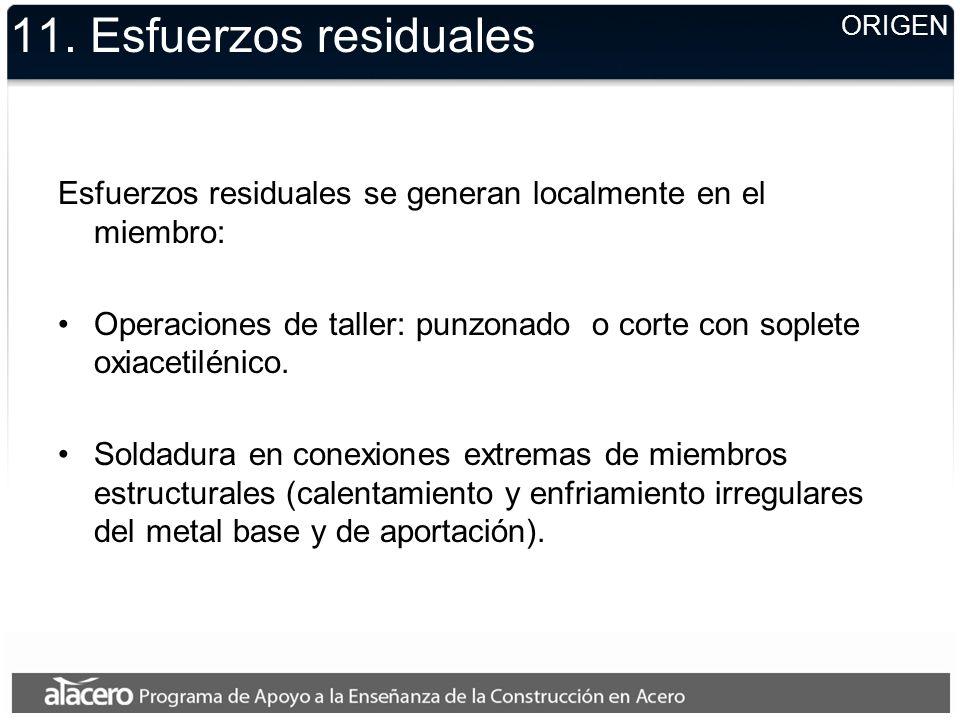 11. Esfuerzos residuales ORIGEN. Esfuerzos residuales se generan localmente en el miembro: