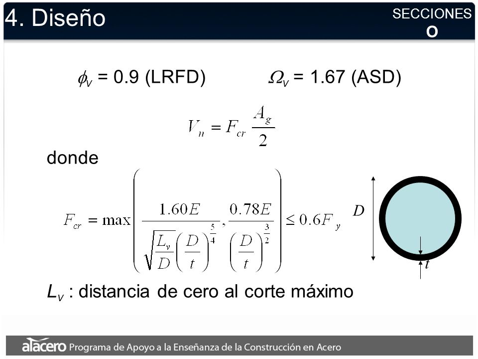 4. Diseño fv = 0.9 (LRFD) Wv = 1.67 (ASD) donde