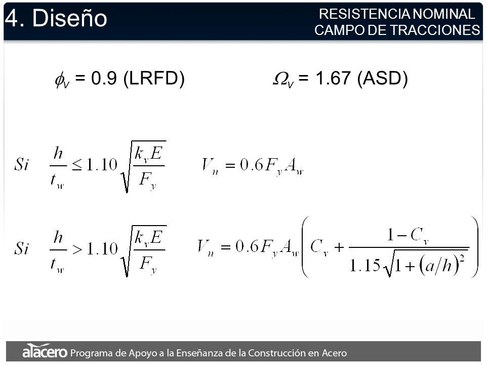4. Diseño fv = 0.9 (LRFD) Wv = 1.67 (ASD) RESISTENCIA NOMINAL