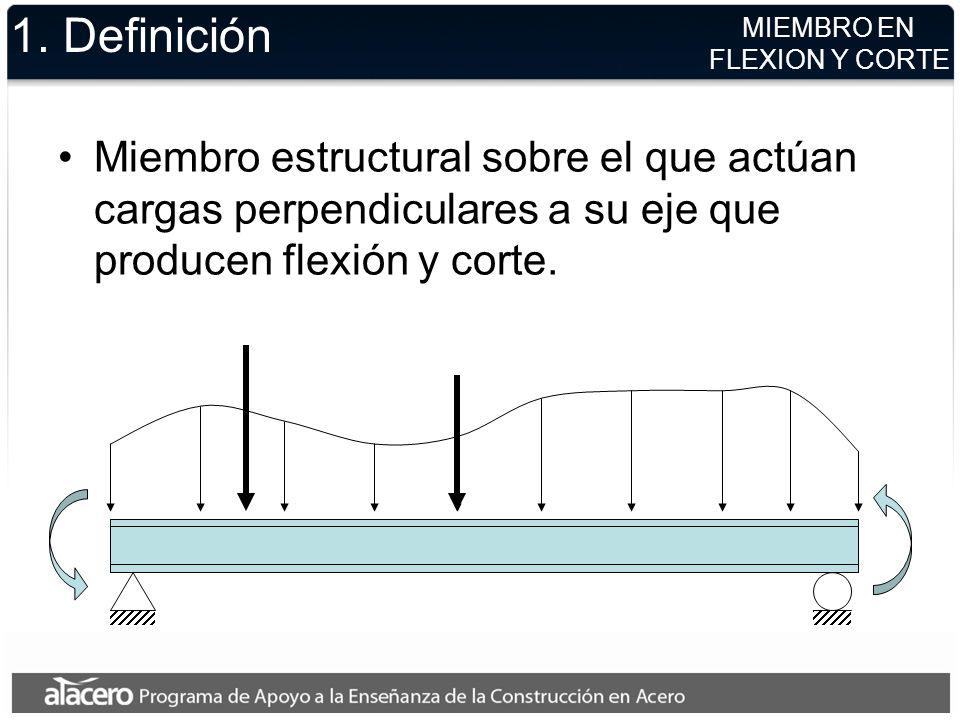 1. Definición MIEMBRO EN. FLEXION Y CORTE. Miembro estructural sobre el que actúan cargas perpendiculares a su eje que producen flexión y corte.