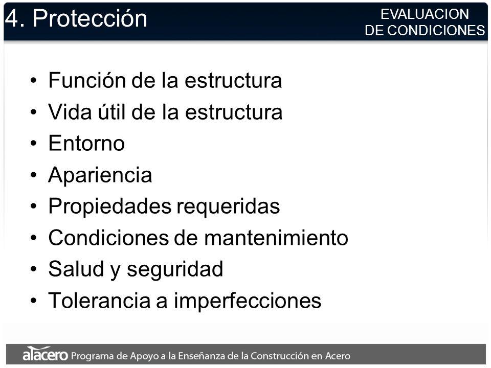 4. Protección Función de la estructura Vida útil de la estructura