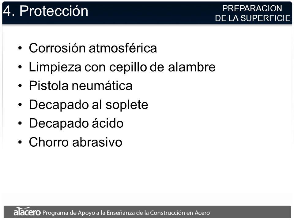 4. Protección Corrosión atmosférica Limpieza con cepillo de alambre